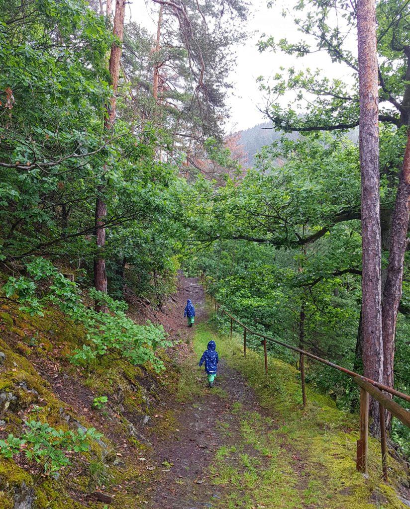 Die Kinder rennen auf dem Wanderweg