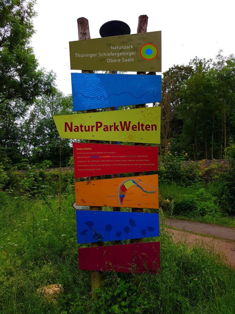 Schild Naturpark-Haus und Naturparkwelten im Thüringer Schiefergebierge-Obere Saale