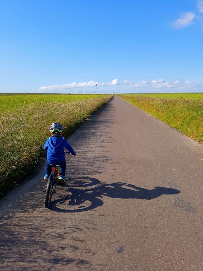 Junge fährt Fahrrad zum Leuchtturm Balje, der Schatten fällt schön auf den Radweg