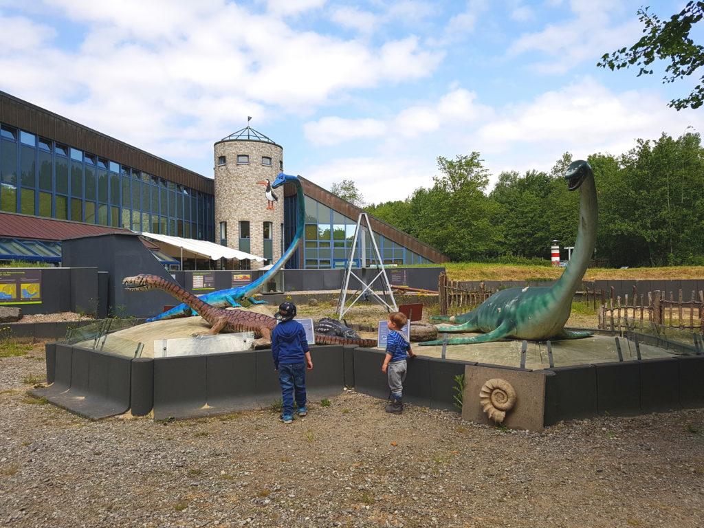 urzeitwelt im Natureum Niederelbe, 2 Jungs stehen vor den Dinosauriern