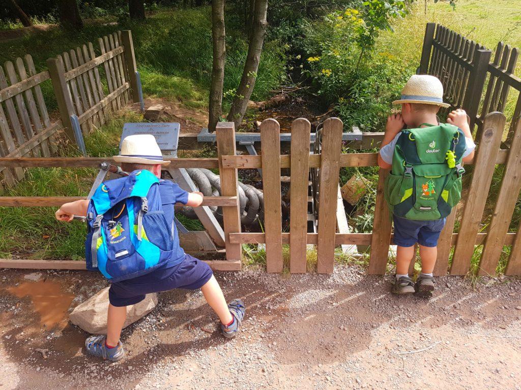 Kinder drehen die Schraube um den Wasserkreislauf in Ganz zu Bringen, Wasserstation Löwenzahn Pfad