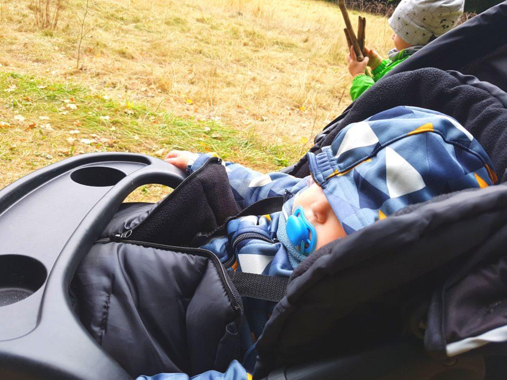 Baby im Kinderwagen auf dem kinderwagengeeigneten Wanderweg im Harz