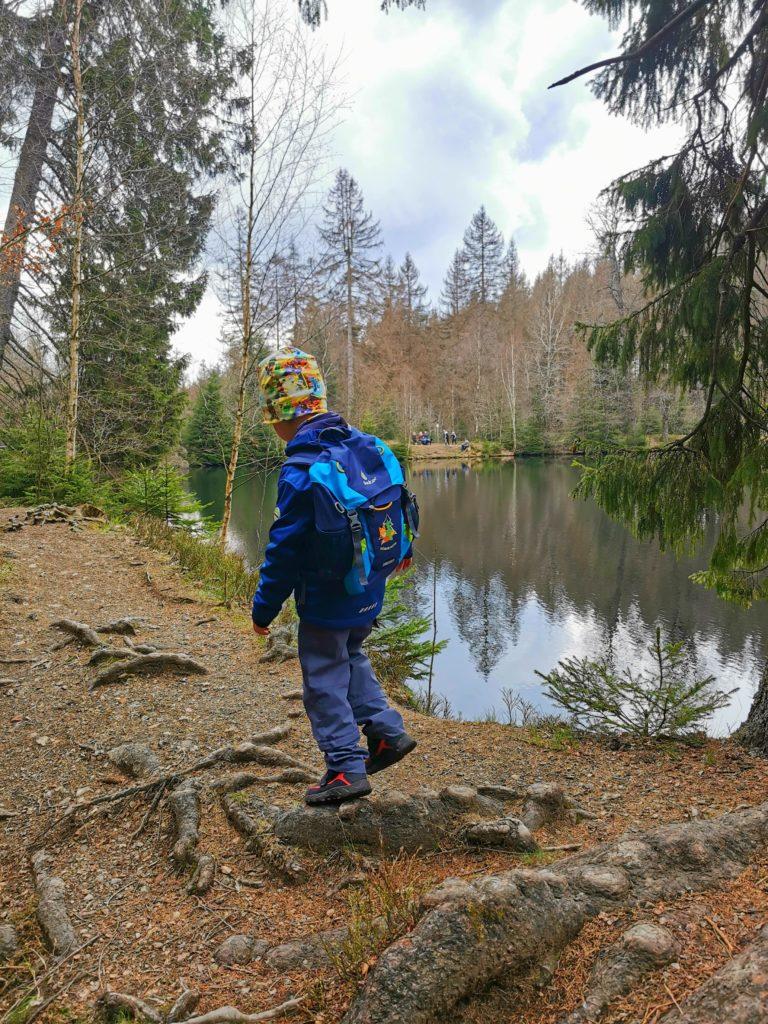 Am Silberteich im Harz beim Wandern mit Kindern